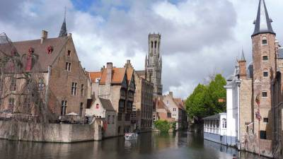 Rozenhoedkaai viewpoint and the Belfry, Bruges