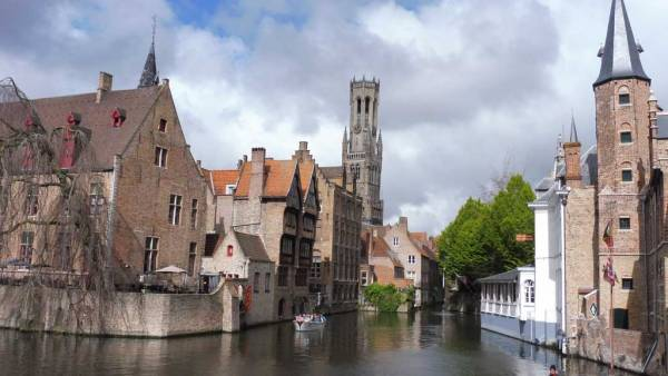 Rozenhoedkaai viewpoint and the Belfry, Bruges, Amsterdam Layover