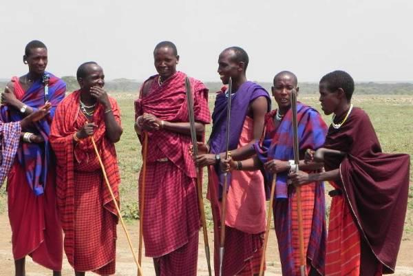 Maasai Warriors with Spears, Maasai Boma Safari