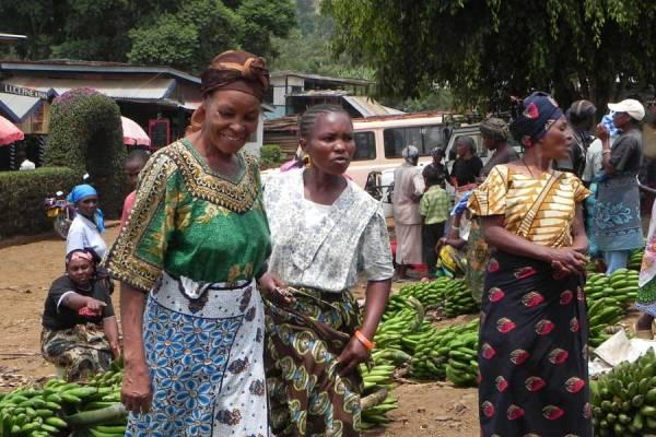 Marangu Market colorful women's clothing, Tanzania