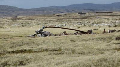 Argentine Helicopter Frame, Falklands War, Visit the Falkland Islands