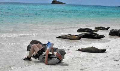 Paul with Galapagos Sea Lions, Espanola Island, Visit the Galápagos