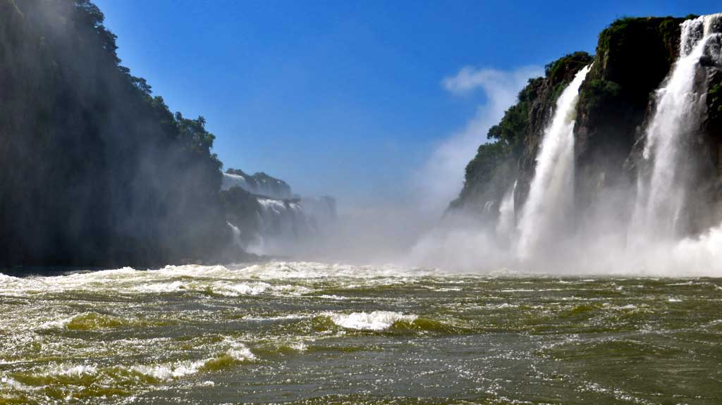 Iguazú Falls Argentina Visit, River Cruise, Brazil Left, Argentina Right