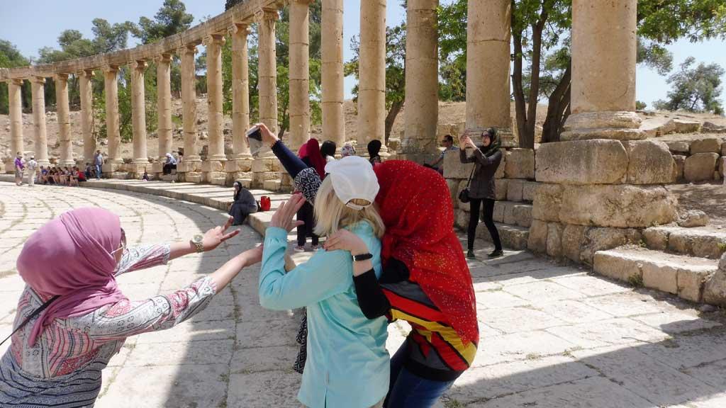 Selfie, Syrians, Canadian, Oval Plaza, Jerash, Jordan Tour