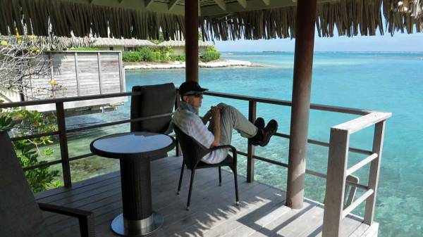 Tim on the Deck of Overwater Bungalow, InterContinental Moorea Review