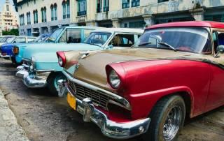 Classic Cars in a row, Havana, Visit Cuba