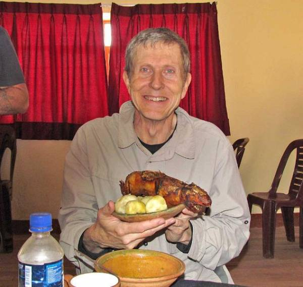 Tim eats Cuy, Guinea Pig for Lunch, Chinchero Community Visit