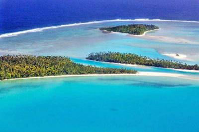 One Foot Island Aerial, Tekopua, Visit Aitutaki
