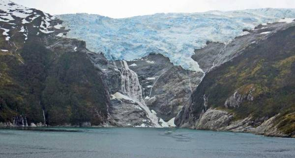 Romanche Glacier Waterfalls, Chilean Fjords