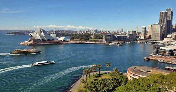 Circular Quay from Harbour Bridge, Visit Sydney, Australia