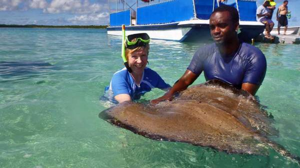 Holding Female Southern Ray, Stingray City Snorkel, Antigua