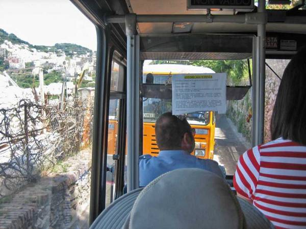 Buses Squeeze by Each Other, Capri Self Guided Tour