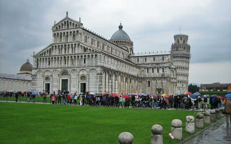 Cathedral and Leaning Tower, Tour Buses Arrive, Pisa Self Guided Tour