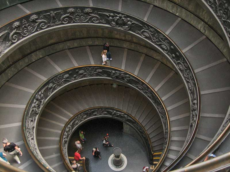 Spiral Staircase Exit, Vatican Museums, Two Days in Rome