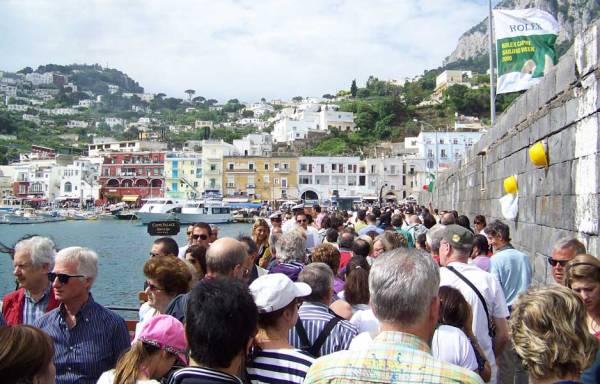 Marina Grande Tourist Crowds, Capri Self Guided Tour