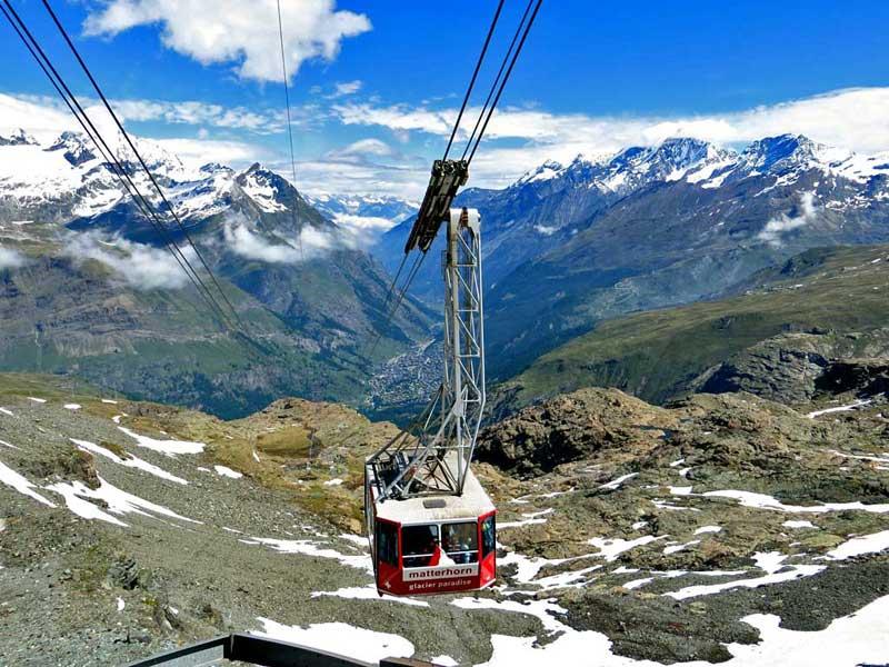 Matterhorn Glacier Paradise Gondola above Zermatt