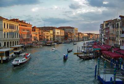 Sunset view of the Grand Canal, Venice Self Guided Tour, Italy