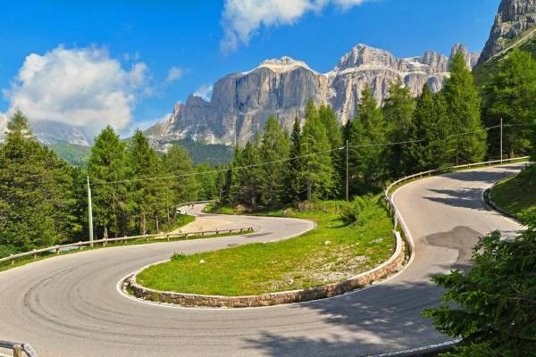 Twisting Alpine Road, Canazei Pordoi Pass, Visit the Dolomites