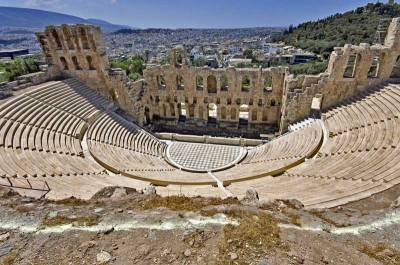 Herodus Atticus Theater below Parthenon, Visit Athens