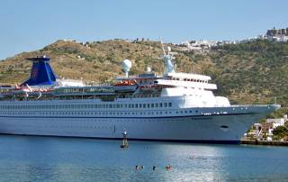 Swimmers, Cruise Ship in Patmos Harbor