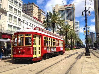 Canal Street Red Lady Streetcar, Visit New Orleans