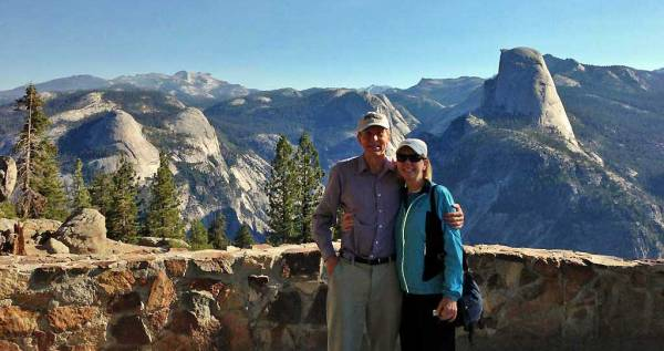 Tim, Viki, Half Dome, Washburn Point, Yosemite Rim Fire Visit
