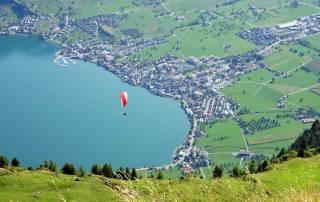 Paragliding down Mount Rigi