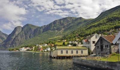 Aurland on Aurlandsfjord near Flam
