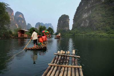 Bamboo Rafting Yulong River, Yangshuo