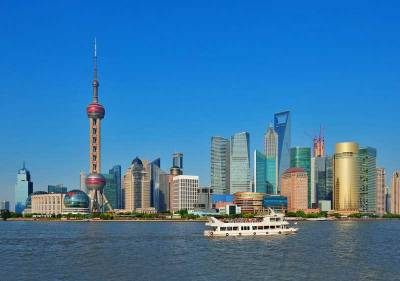 Pudong Skyscrapers from the Bund Promenade, Visit Shanghai