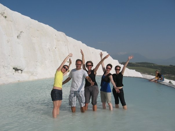 Wading in Pamukkale Mineral Springs, Touring Turkey