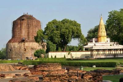 Dhamek Stupa, Shri Digamber Jain Temple, Sarnath