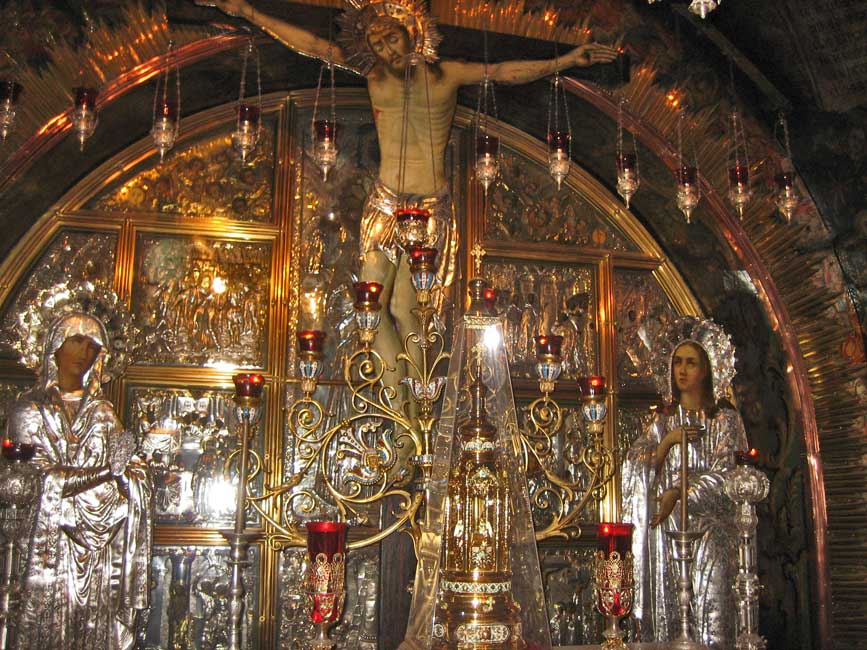 Greek Orthodox Crucifixion Altar, Church of the Holy Sepulchre, Jerusalem Tour