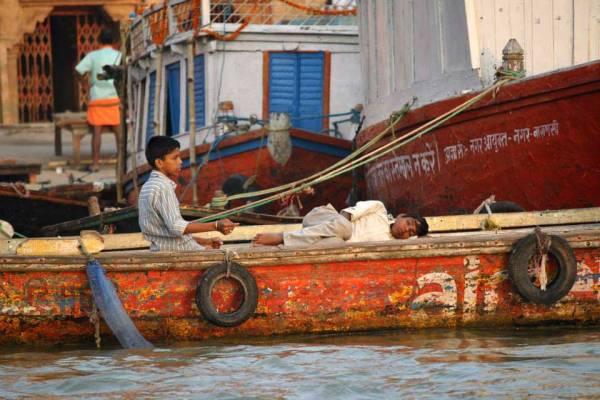 Kids on Fishing Boat, Ganges River, Visit Varanasi