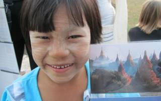 Postcard Seller, Thanaka Face Paint, Bagan, Visit Myanmar