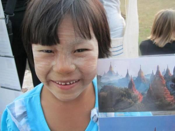 Postcard Seller, Thanaka Face Paint, Bagan, Visit Myanmar