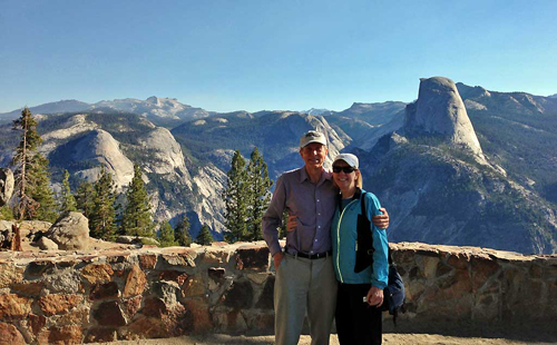 Tim and Viki at Washburn Point view of Half Dome, Yosemite