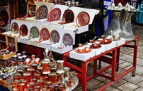 Bascarsija Bazaar Copper Coffee Sets, Sarajevo, Touring Bosnia & Herzegovina