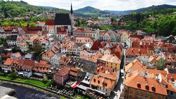 Cesky Krumlov from Castle Tower, Touring Prague