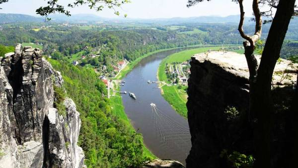 Elbe River view from the Bastei near Dresden