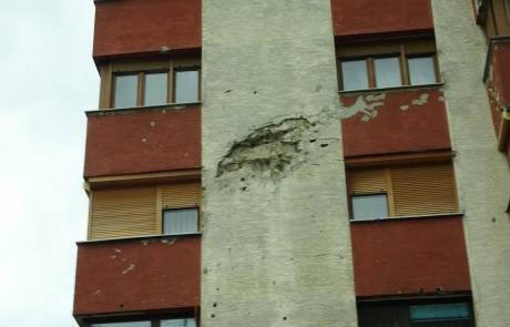 Mortar Damaged Apartment, Sarajevo, Touring Bosnia & Herzegovina