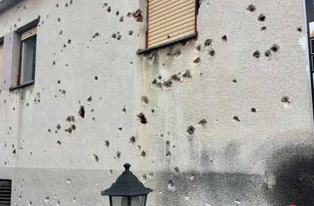 Mortar Shell Damage, Mostar, Touring Bosnia & Herzegovina