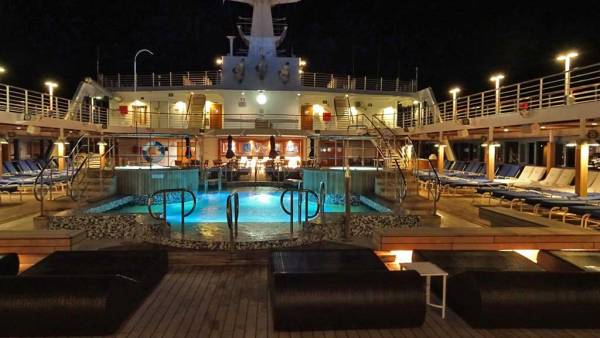 Pool Deck at Night, Oceania Regatta Review