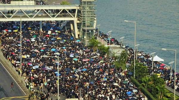 Protest Marchers, Hong Kong during Protests, December 1st 2019