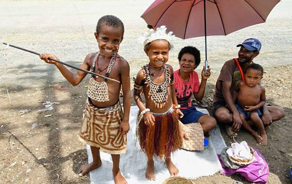 Alotau Children Dressed for Tourists, Papua New Guinea Shore Excursions